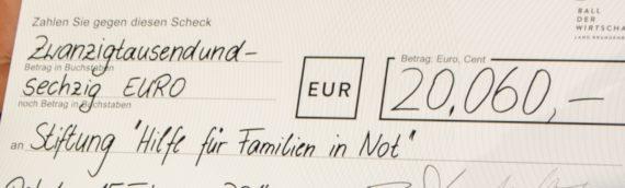 """14. Ball der Wirtschaft – 20.060 Euro für die Stiftung """"Hilfe für Familien in Not"""""""